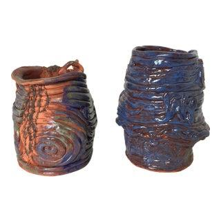 Indigo Blue Mid-Century Studio Pottery Coil Vases - A Pair