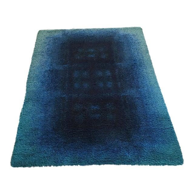 "Mid-Century Blue Rya Rug - 4'4"" x 6' - Image 1 of 5"