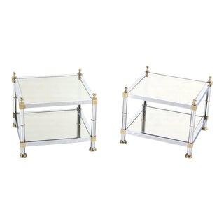 Pair of Chrome Brass and Smoked Glass Square End or Side Tables