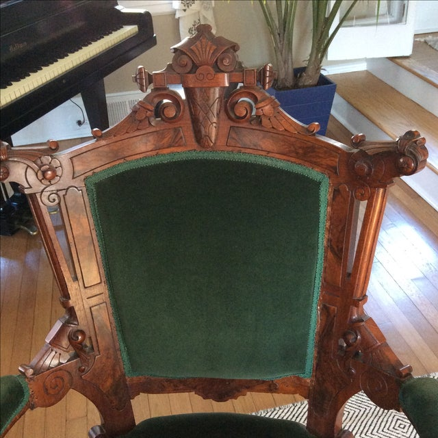 Antique Green Velvet Chairs - Image 6 of 6