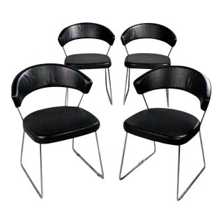 Calligaris Black Leather Dining Chairs - Set of 4