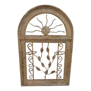 Vintage Weathered Architectural Wrought Iron & Wood Wall Garden Plant Holder