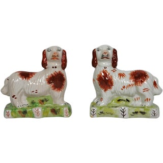 Staffordshire Dogs in a Field - A Pair