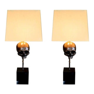 Bronze Skull Table Lamps - a Pair