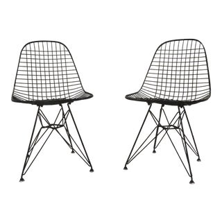 1950s Eames for Herman Miller DKR Black Wire Chairs - a Pair