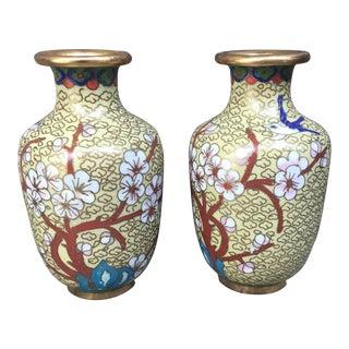 Cloisonné Cherry Blossom Brass Vases - a Pair