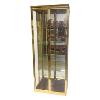 1980's Style Brass and Glass Cabinet