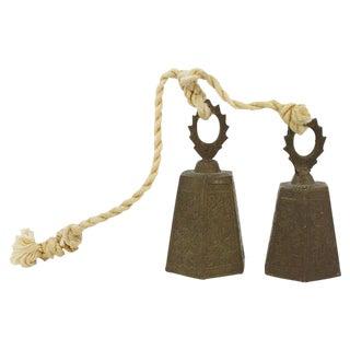 Engraved Brass Bells - a Pair