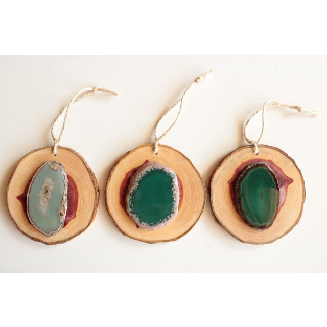 Agate and Cedar Slice Christmas Ornaments - Set of 6 - Image 4 of 8