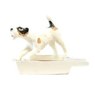 Ceramic Dog Ashtray with Attached Dog Figurine