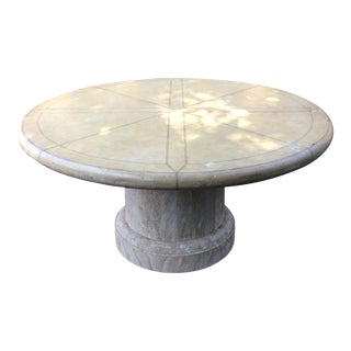 Maitland-Smith Round Leather Top Dining Table