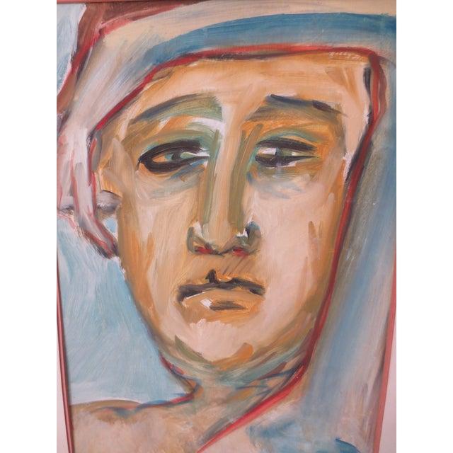 Circa 1970 Modernist Portrait Painting - Image 3 of 7