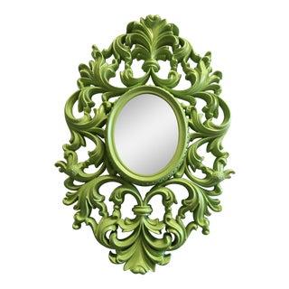 Ornate Lime Green Scroll Mirror