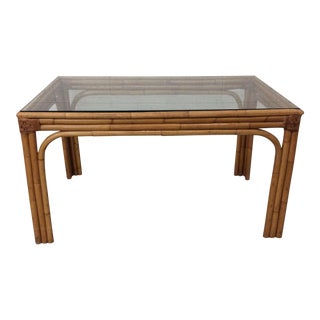 Bamboo And Glass Dining Table Or Desk