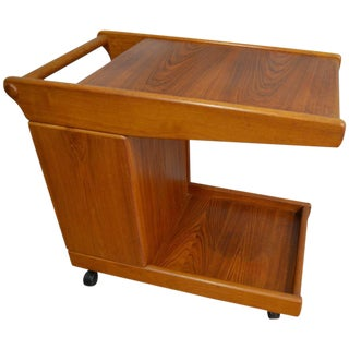 Mid-Century Teak Tea Bar Cart on Wheels