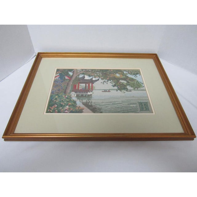 Oriental Asian Teahouse on the Lake Needlepoint - Image 8 of 11