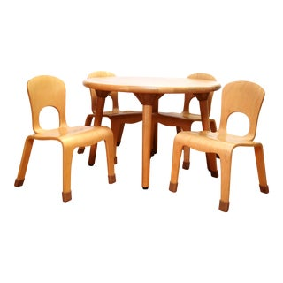 Kids' Mid-Century Modern Maple Table & Chairs