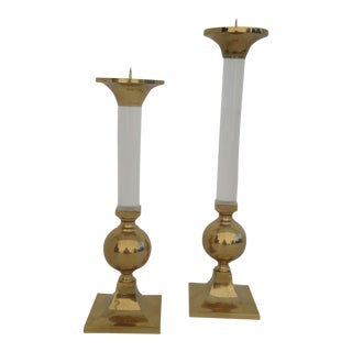 Pair of Brass and Glass Candle Holders Style of Karl Springer