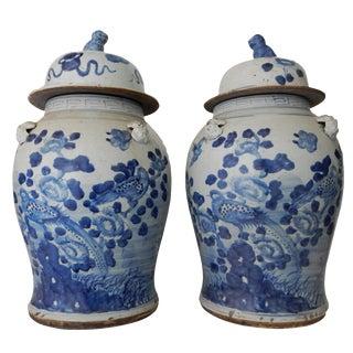 Large Lidded Blue & White Ginger Jars - A Pair