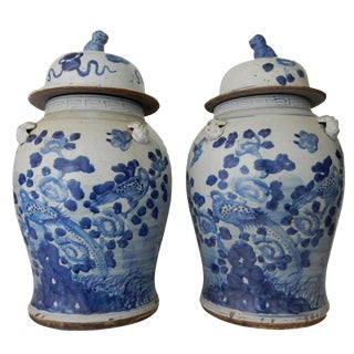 Large Lidded Blue & White Ginger Jars - A Pair