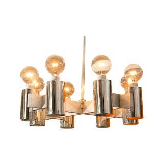 1960's Brushed Steel Lightolier Chandelier