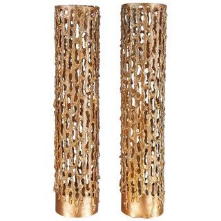 Large Brutalist Copper Candleholders Attributed to Marcello Fantoni