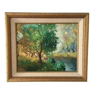 Vintage Landscape Riverbank Oil on Canvas Painting