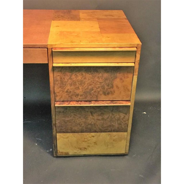PAUL EVANS PATCHWORK BURLED WOOD AND LEATHER DESK - Image 3 of 10
