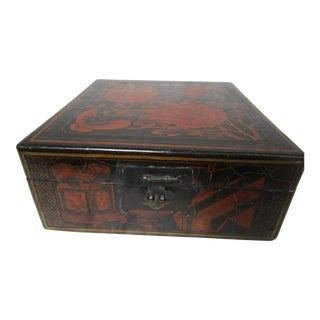 Asian Black Lacquer With Red & Gold Design Lidded Box