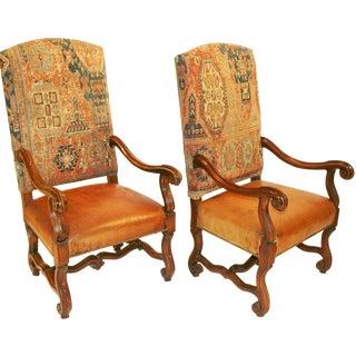 Ralph Lauren Leather Kilim Camargue Chairs - Pair