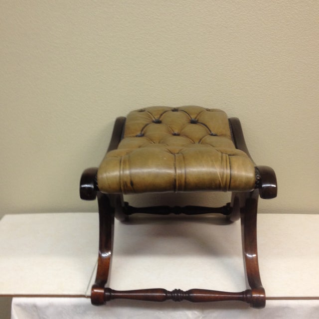 Antiqued Tufted Leather Ottoman - Image 3 of 9