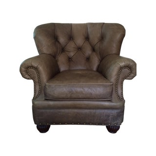 Lillian August Distressed Leather Tufted Chair