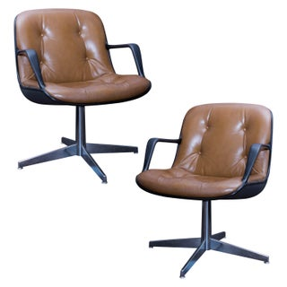 Charles Pollock Steelcase Brown Leather Executive Chairs- A Pair