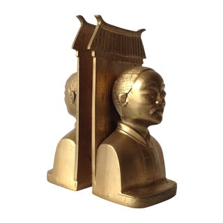 Brass Asian-Style Pagode & Male Bookends, Pair