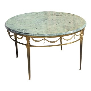 Maison Jansen Bronze With Round Marble Top Coffee Table