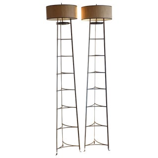 Modern Iron Torchiere Lamps - a Pair