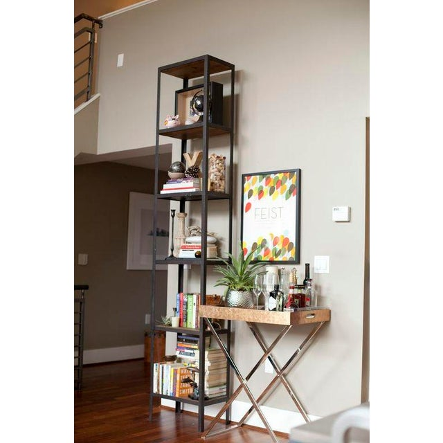Image of HD Buttercup Tall Metal and Oak Bookcase