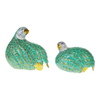 Chinese Porcelain Partridge Figurines - A Pair