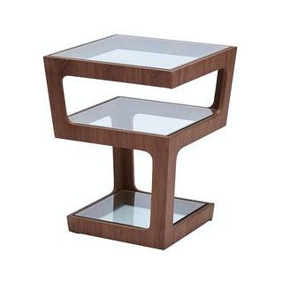 Walnut Geometric Side Table
