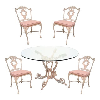Molla Victorian Style Pink Cast Aluminum Dining Set