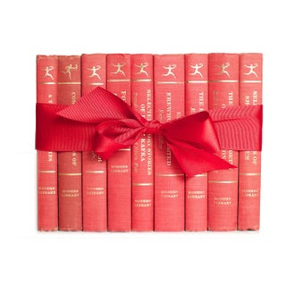 Mid-Century Modern Red Library Gift - Set of 9 Books