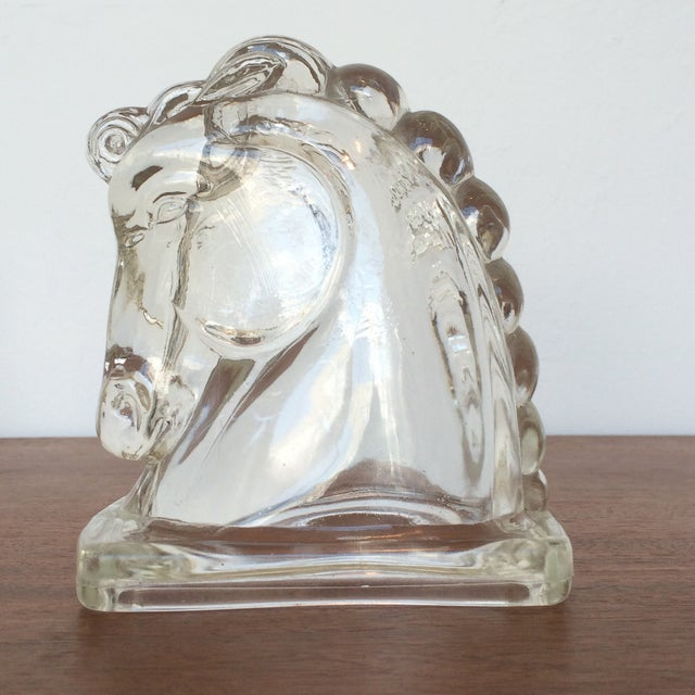 Molded Glass Horse Heads - A Pair - Image 3 of 4