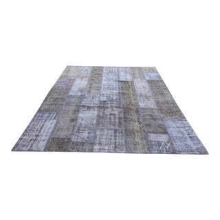 Vintage Turkish Overdyed Patchwork Oushak Rug - 7′11″ × 9′11″