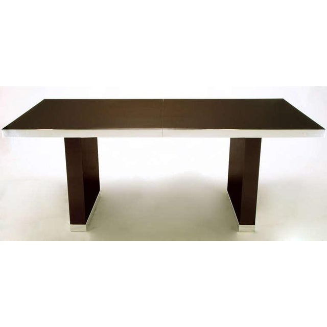 Pierre Cardin Chrome & Dark Chocolate Brown Dining Table - Image 3 of 7