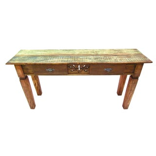Console Table With Carvings Details- Eco-Friendly Solid Reclaimed Wood