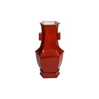Dark Orange Hexsagonal Ceramic Vase