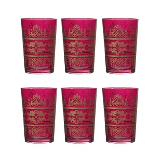 Red Hand Blown Tunis Glasses - Set of 6