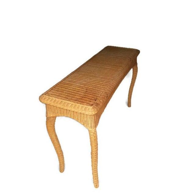 Boho Rattan Coffee Table: Vintage Wicker Console Table Bohemian Sofa Table