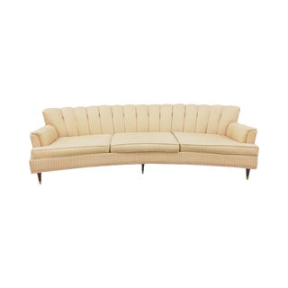 1950s Shell Back Curved Cream Sofa