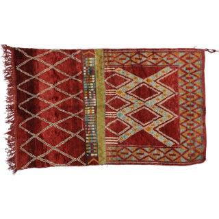 Modern Red Berber Moroccan Rug, 5'1x8'4